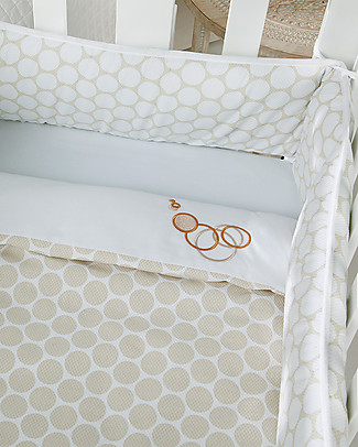 Micuna Textiles for Cododo Cot, Beige Polka Dots – With bumper and bed sheets! Cribs & Moses Baskets