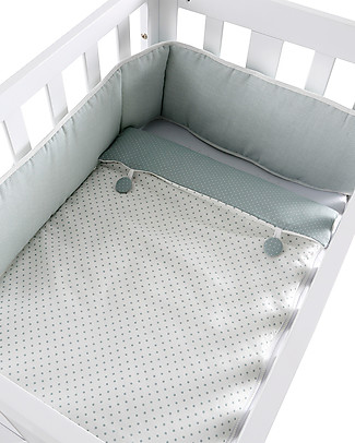 Micuna Textiles for Cododo Cot, Green Buttons – With bumper and bed sheets! Cribs & Moses Baskets