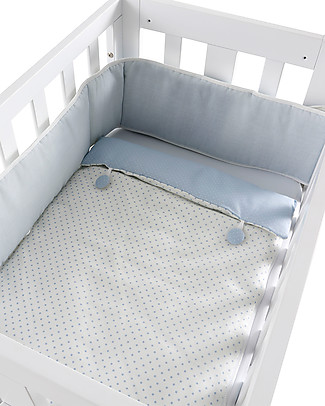 Micuna Textiles for Cododo Cot, Light Blue Buttons – With bumper and bed sheets! Cribs & Moses Baskets