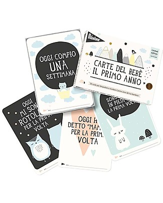 "Milestone Baby Cards Milestone Baby Cards ""Over the Moon"" - TEXT IN ITALIAN - Ideal gift for New Baby!  Baby's First Albums"