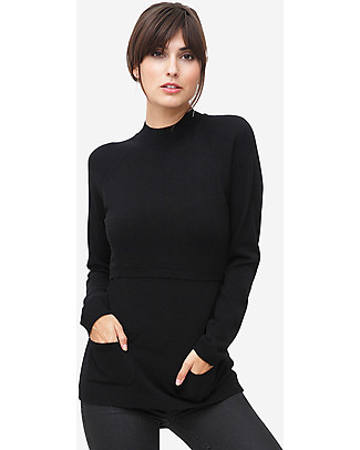 Milker Ling, Maternity and Nursing Turtleneck, Black – Wool Blend Jumpers