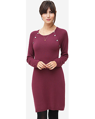 Milker Lis, Maternity and Nursing Dress, Burgundy - Wool Blend Dresses