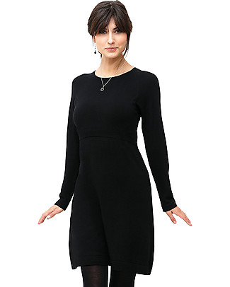Milker Loma, Maternity and Nursing Dress, Black - Wool Blend	 Dresses
