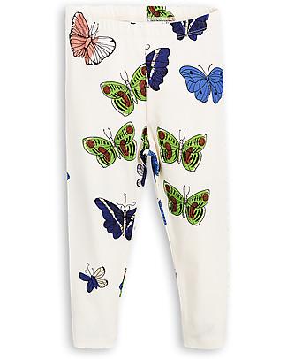 Mini Rodini Butterflies Leggings, Off-White - Organic cotton, eco-friendly! Leggings