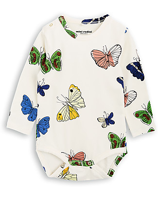 Mini Rodini Butterflies Long Sleeves Bodysuit, Off-White - Organic cotton Long Sleeves Bodies
