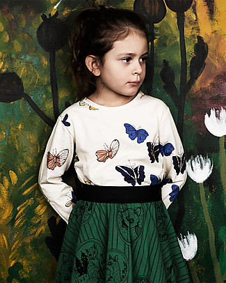 Mini Rodini Butterflies Long Sleeves T-Shirt, Off-White - Organic cotton Long Sleeves Tops