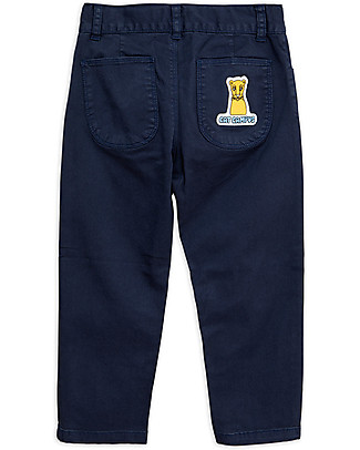 Mini Rodini Cat Campus Twill Trousers, Navy - Elasticated Organic Cotton Trousers