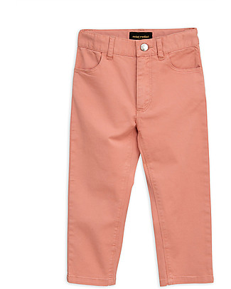 Mini Rodini Cat Campus Twill Trousers, Pink - Elasticated Organic cotton Trousers