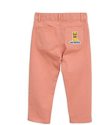 Mini Rodini Cat Campus Twill Trousers, Pink - Elasticated Organic cotton Trousers