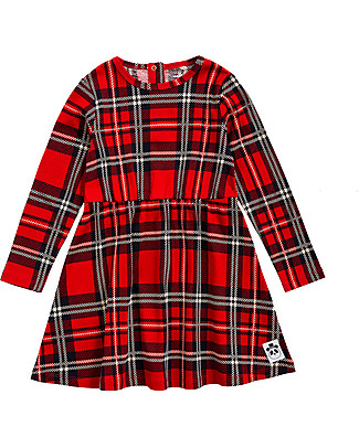 Mini Rodini Check Long Sleeved Dress, Red - 100% Organic Cotton Dresses