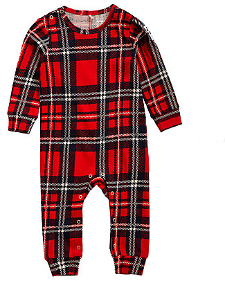 Mini Rodini Check Long Sleeved Jumpsuit, Red - 100% Organic Cotton Rompers