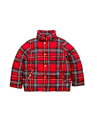 Mini Rodini Check Puffer Jacket, Red - 100% Recycled Fabric, Water-Resistant Jackets