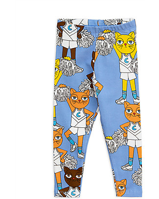 Mini Rodini Cheercat Leggings, Blue - Stretchy Organic Cotton Leggings