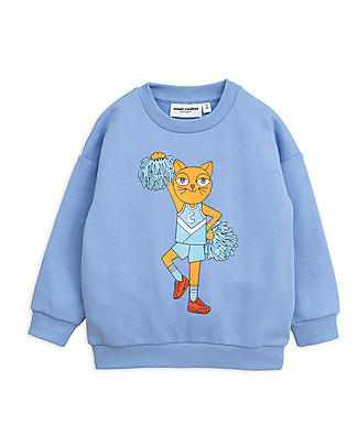 Mini Rodini Cheercat sp Sweatshirt, Blue - 100% Organic Cotton Sweatshirts