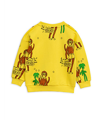 Mini Rodini Cool Monkey Sweater, Yellow - 100% organic cotton Sweatshirts