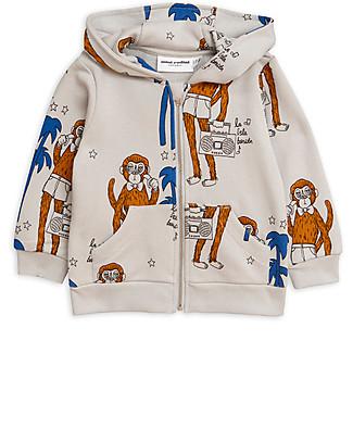 Mini Rodini Cool Monkey Zip Hoodie, Grey - 100% organic cotton Sweatshirts