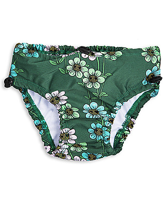 Mini Rodini Daisy Baby Girl's Swimpants, Dark Green - UPF 50+ Swimming Trunks