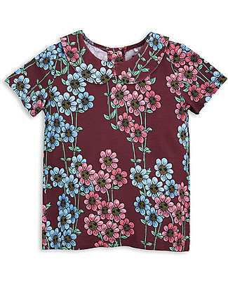 Mini Rodini Daisy Collar T-Shirt, Burgundy - Eco-friendly! T-Shirts And Vests