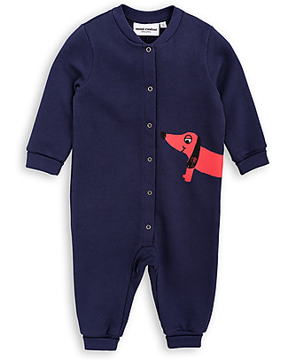 Mini Rodini Dog Long Sleeves Onesie, Navy - 100% organic cotton fleece  Rompers