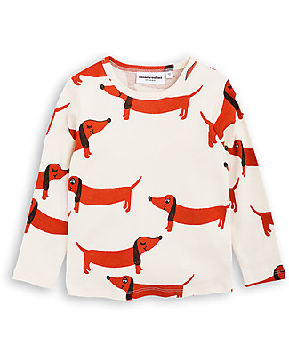 Mini Rodini Dog Long Sleeves T-Shirt, Off-white - 100% organic cotton Long Sleeves Tops