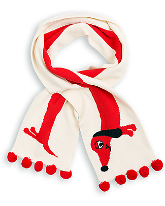 Mini Rodini Dog Scarf, Off-White - 100% organic cotton Scarves And Shawls