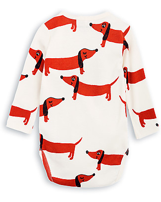 Mini Rodini Dogs Long Sleeves Bodysuit, Off-White - 100% organic cotton Long Sleeves Bodies