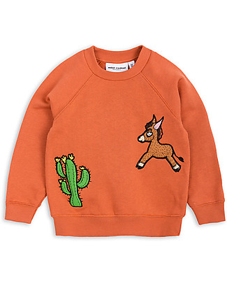 Mini Rodini Donkey and Cactus Sweater, Orange - 100% organic cotton Sweatshirts