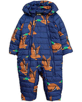 Mini Rodini Ducks Insulator Baby Overall, Navy - 100% Recycled Fabric Coats