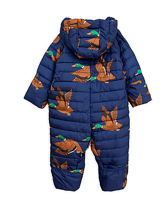 Mini Rodini Ducks Insulator Baby Overall, Navy - 100% Recycled Fabric Snowsuits