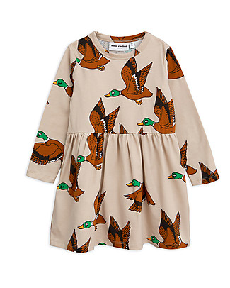 Mini Rodini Ducks Long Sleeved Dress, Beige - Elasticated Organic Cotton Dresses