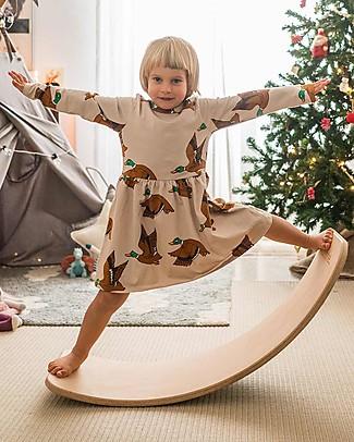 Mini Rodini Ducks Long Sleeved Dress, Beige - Elasticated Organic Cotton Dresses