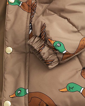 Mini Rodini Ducks Puffer Jacket, Brown - 100% Recycled Fabric, Water-Resistant Jackets