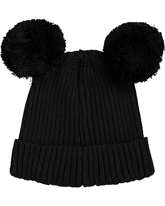 Mini Rodini Ear Beanie Hat, Black - 100% organic cotton Winter Hats