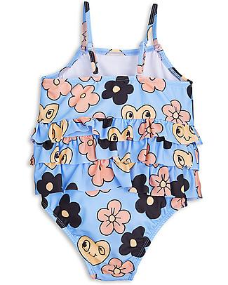 Mini Rodini Flowers Girl's Swimsuit, Light Blue – UPF 50+ Swimsuits