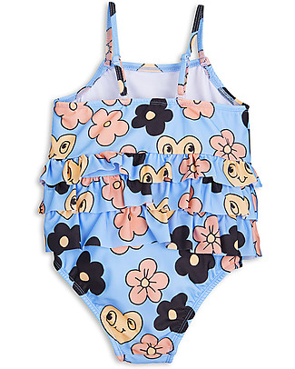 Mini Rodini Flowers Girl's Swimsuit, Light Blue - UPF 50+ Swimsuits