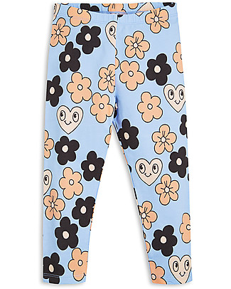 Mini Rodini Flowers Leggings, Light Blue - Organic Cotton Leggings