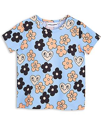 Mini Rodini Flowers T-Shirt, Light Blue - Organic cotton T-Shirts And Vests