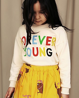 Mini Rodini Forever Young Sweatshirt, Offwhite - 100% Organic Cotton Sweatshirts