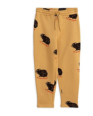 Mini Rodini Guinea Pig Sweatpants, Beige - 100% Organic Cotton Trousers