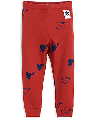 Mini Rodini Heart Rib, Red - Organic cotton, eco-friendly! Leggings