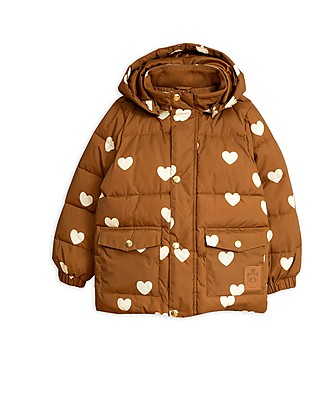 Mini Rodini Hearts Pico Puffer Jacket, Brown - 100% Recycled Fabric, Water-Resistant Jackets