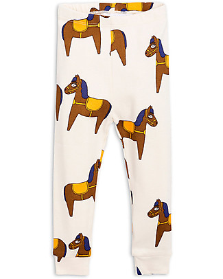 Mini Rodini Horse Leggings, Off-White - 100% Organic cotton, eco-friendly! Leggings