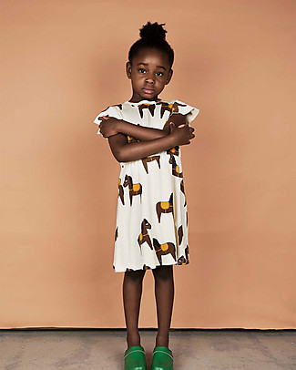 Mini Rodini Horses Dress, Off-White - 100% organic cotton Dresses