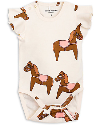Mini Rodini Horses Short Sleeves Bodysuit, Pink - 100% Organic cotton Short Sleeves Bodies