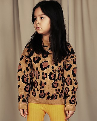 Mini Rodini Leo Knitted Sweater, Brown - Wool-Cotton blend Jumpers