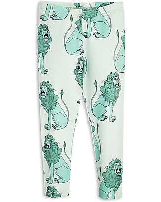 Mini Rodini Lion Leggings, Light Green - Organic Cotton Leggings