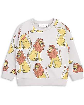 Mini Rodini Lion Sweater, Light Grey - Organic Cotton Sweatshirts