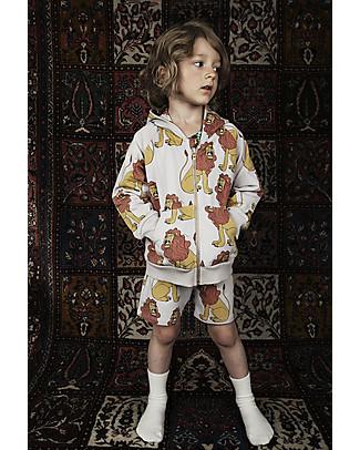 Mini Rodini Lion Sweatshorts, Light Grey - Organic Cotton Shorts