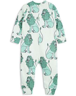 Mini Rodini Long Sleeved Bodysuit, Lion, Light Green - Stretchy organic cotton Rompers