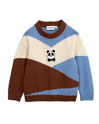 Mini Rodini Panda Knitted Pullover, Brown - Wool-Cotton blend Jumpers